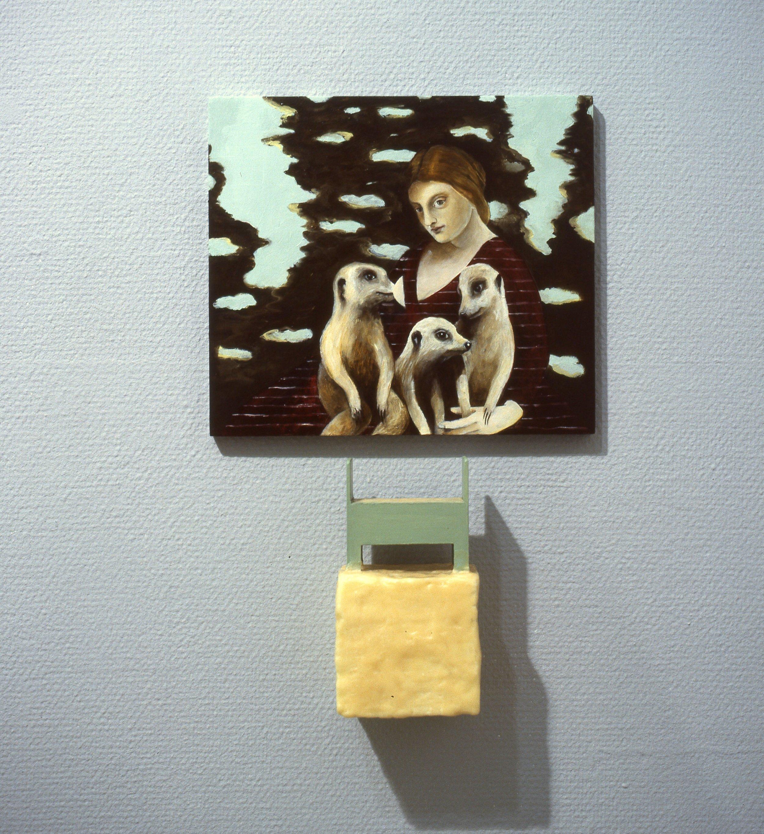 fra serien  Hjemmet og vi    30x26 cm olje på plate + objekt, 1997