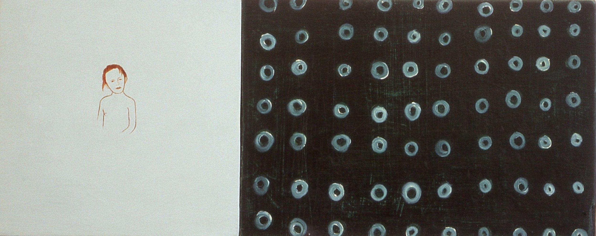 Sammenstilling  20x49,5 cm olje på plate 1996