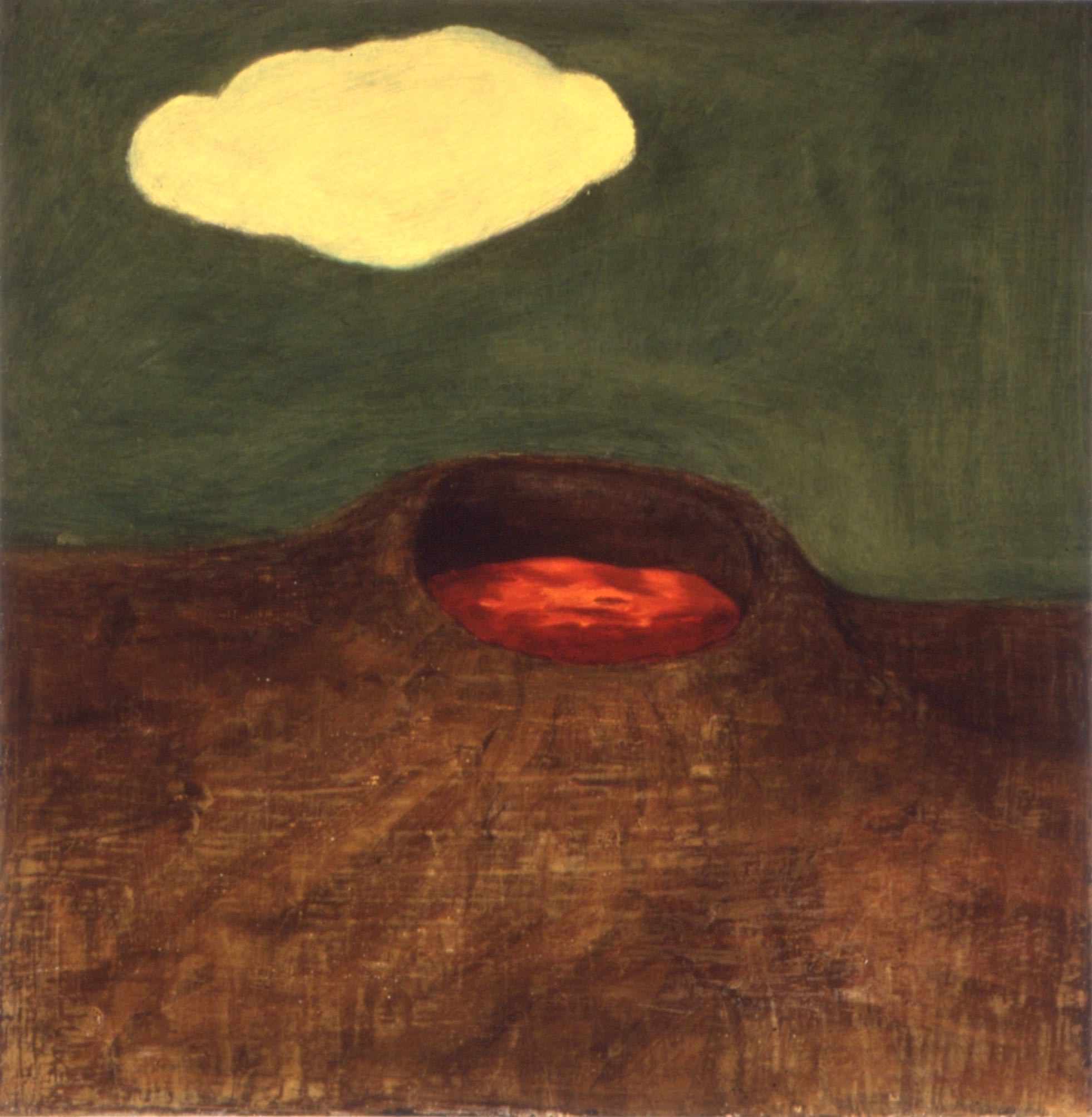 Vulkan I   30x30 cm olje på plate 1992