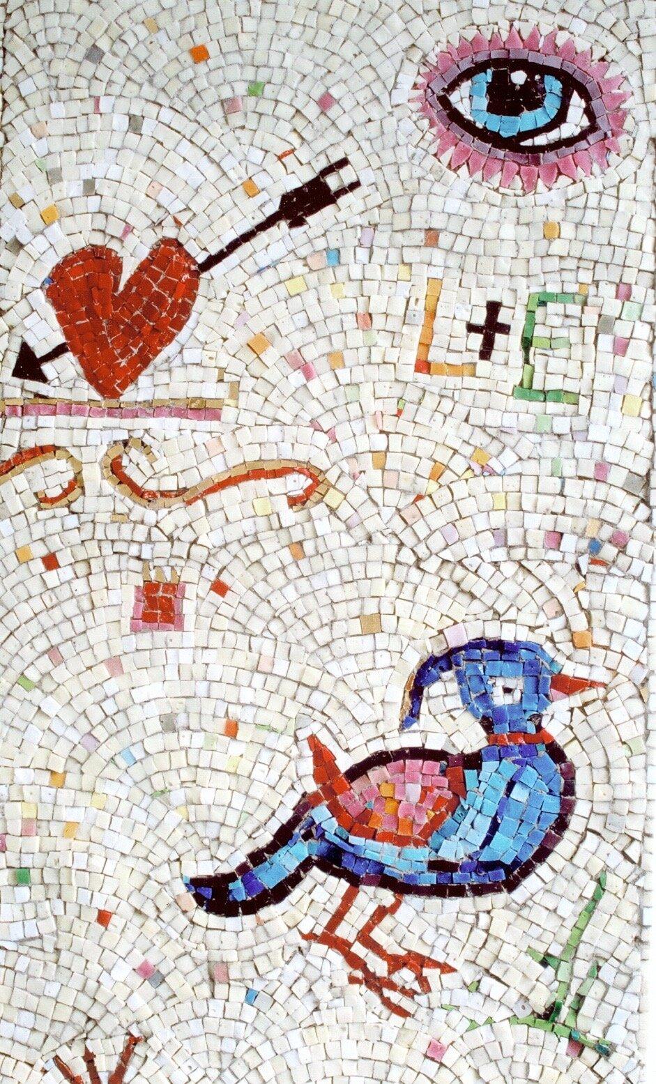 Mosaikksøyle, detalj