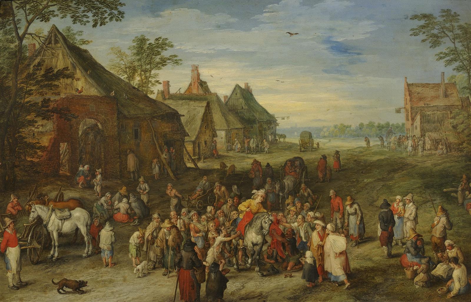 A Village Scene with St. Martin Dividing his Cloak, Jan Brueghel the Elder, 1611
