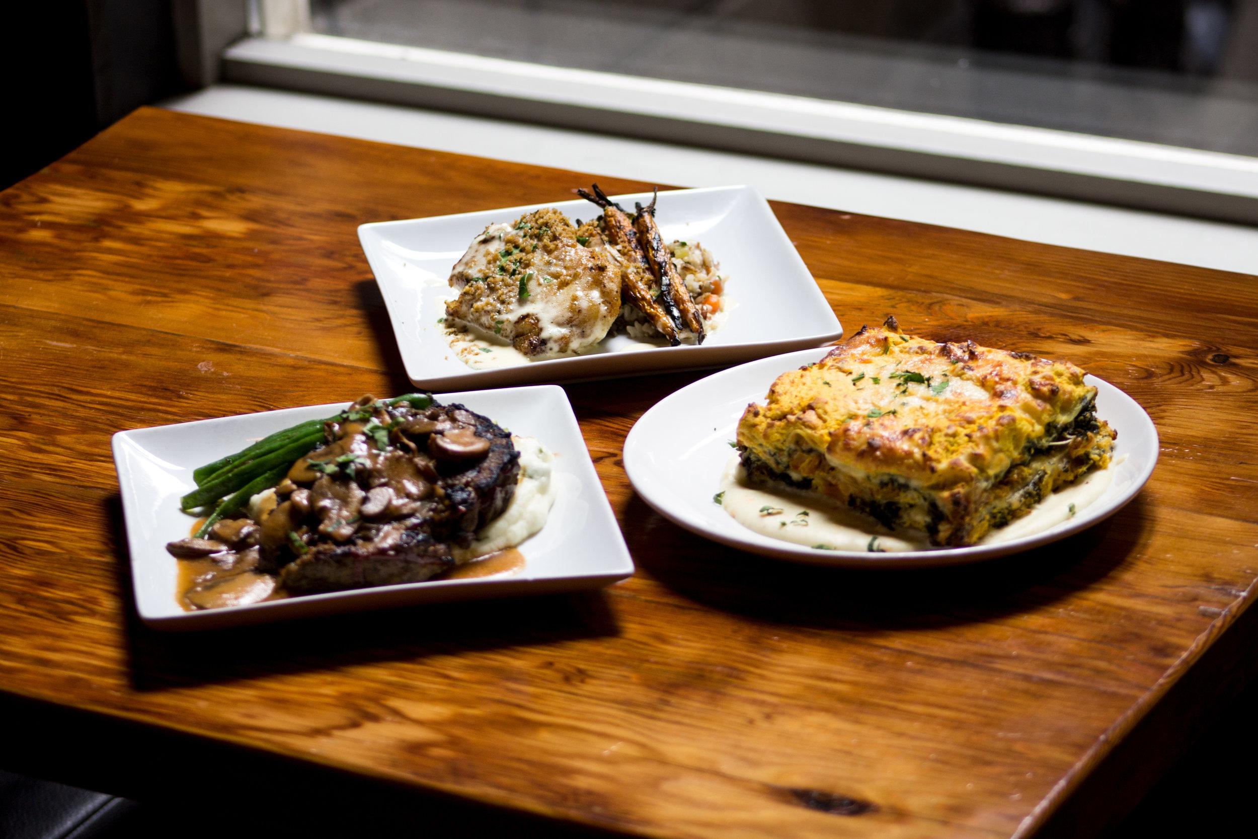Grilled Meatloaf, Baked Cod, Winter Vegetable Lasagna. Umm, comfort food.