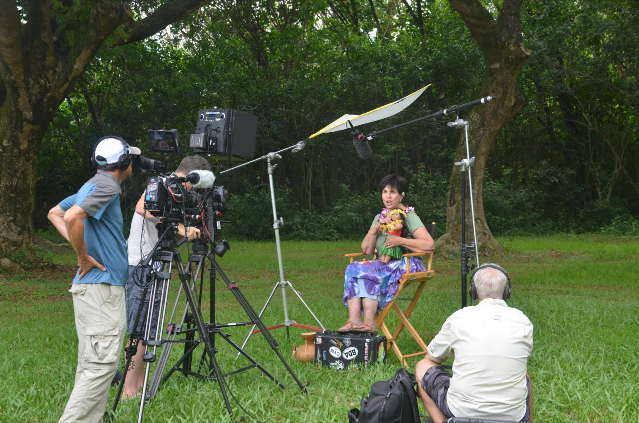 More About Dorinda - Photo: American Girl doll, Nanea, and Dorinda, with a film crew in Hawaii