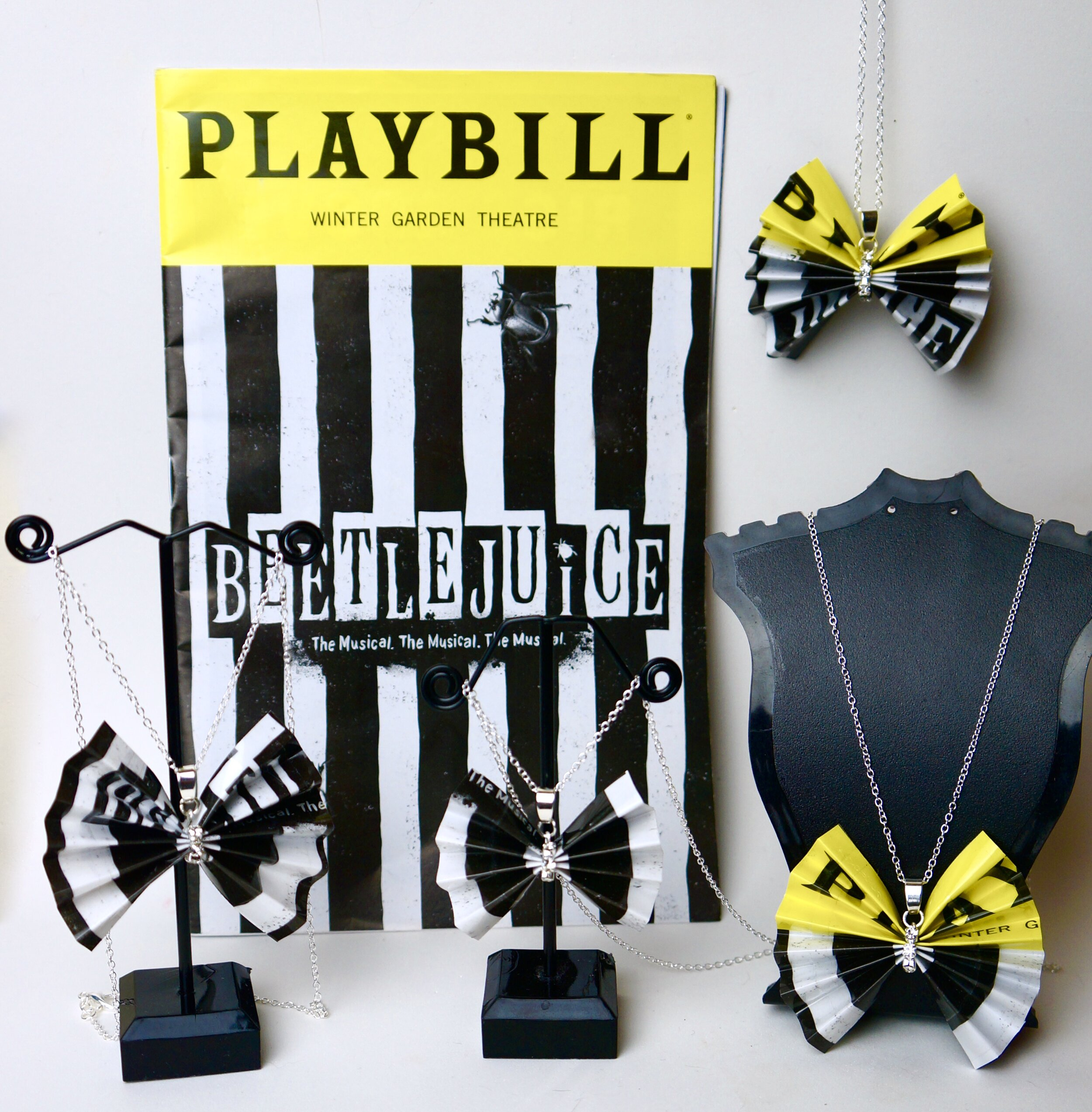 Copy of Beetlejuice Broadway Playbill Bow Necklaces