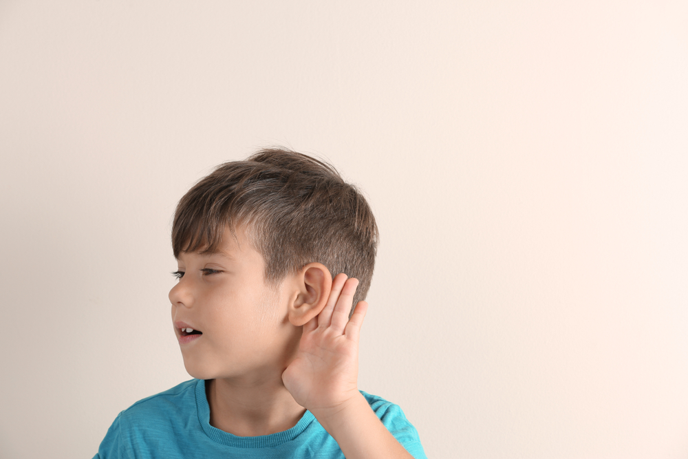 A boy with hearing issue