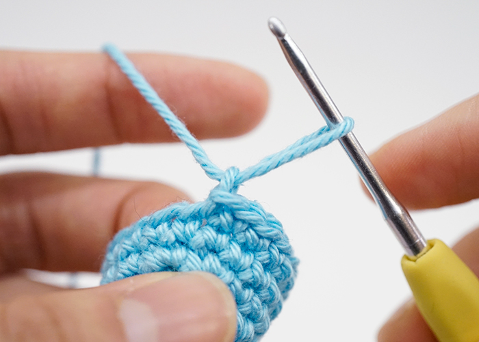 pull yarn all the way through the loop
