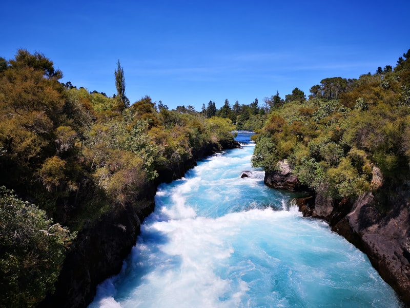 The incredible river leading down to Huka Falls in Taupo.