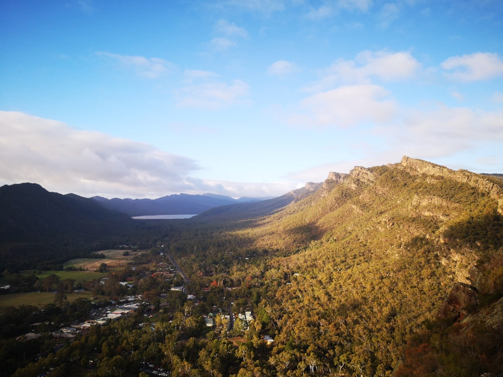 The view over Halls Gap in the Grampians. The view from the Pinnacle lookout is even better.