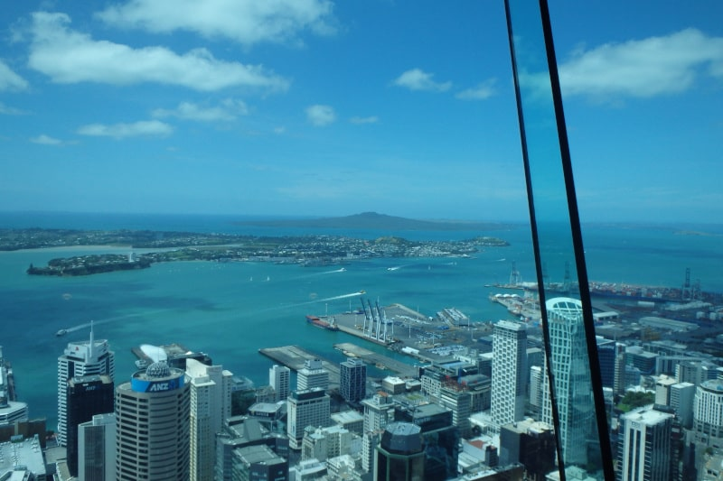 The view from the Sky Tower in Auckland. You can literally jump off the top of it! The biggest city in New Zealand is a great place to begin your New Zealand itinerary.