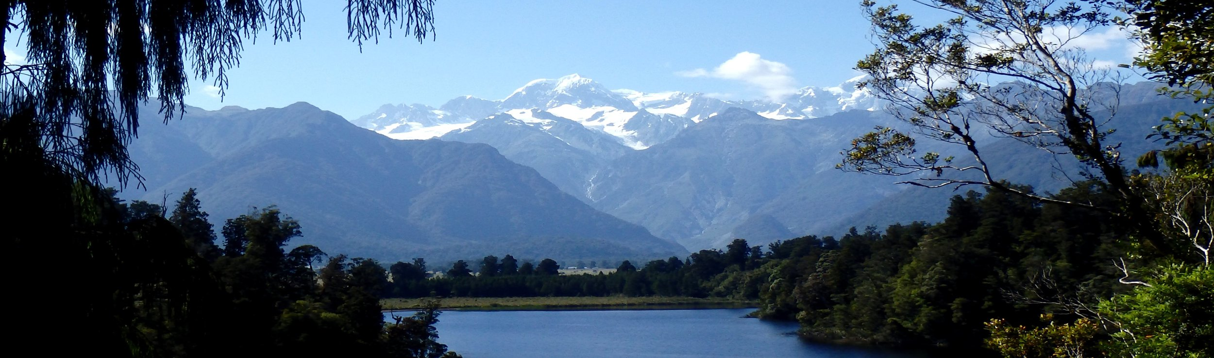 A panoramic shot over Lake Matheson next to Fox Glacier. It's a stunning spot to snap a few photos!