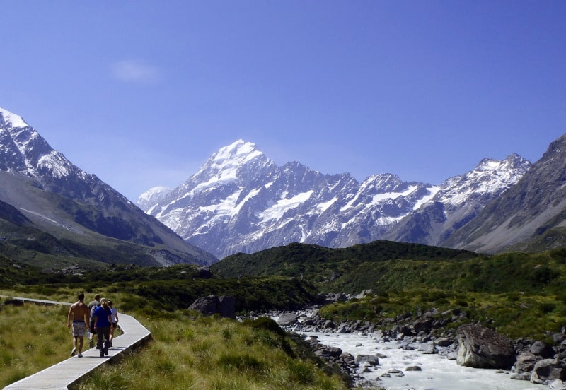 The view of Mount Cook from along the Hooker Valley Track. See why run out of superlatives here? It's a great penultimate stop on your 3 week New Zealand trip itinerary.