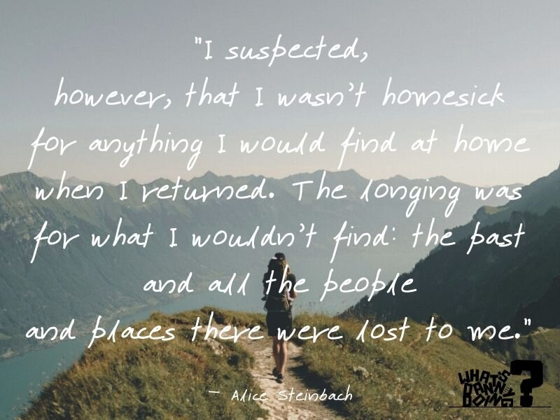 I love this Alice Steinbach quote. It speaks to something I often feel when I'm miss my family back home quotes.