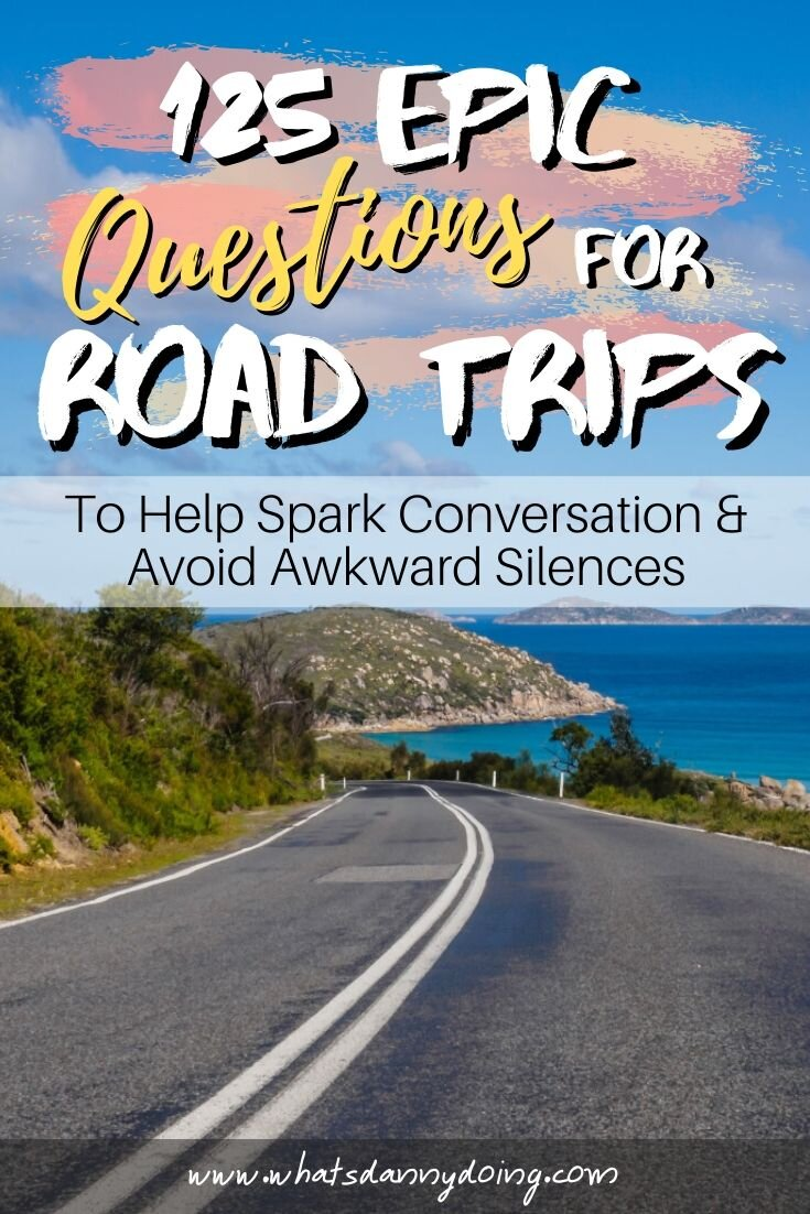 Share these fun road trip questions by giving this post a pin!