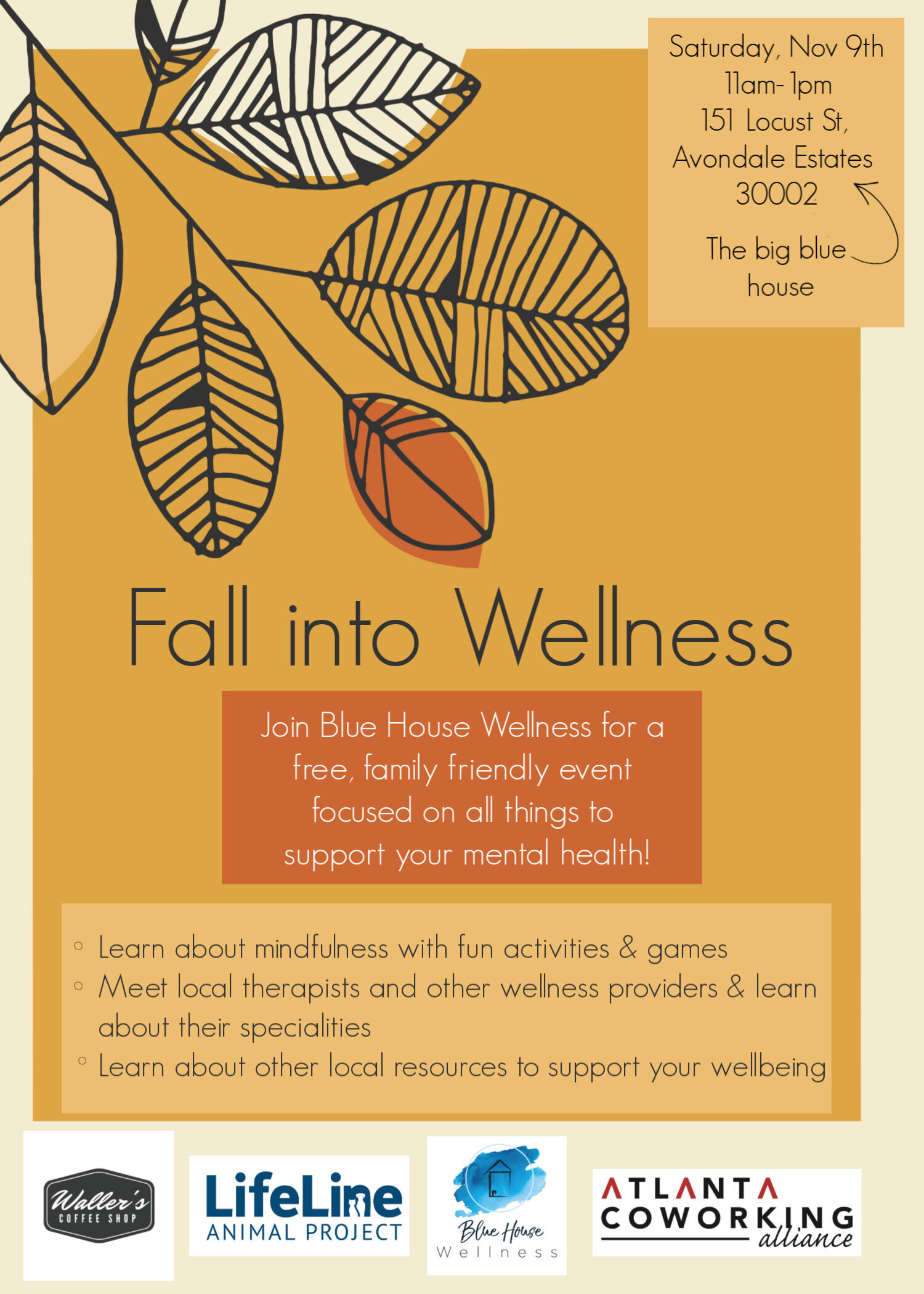 Fall Into Wellness - Come hang out with me in Decatur at Blue House Wellness for their family-friendly Fall Into Wellness event! Play games, meet local therapists, and learn about wellness services in the area. See you there!