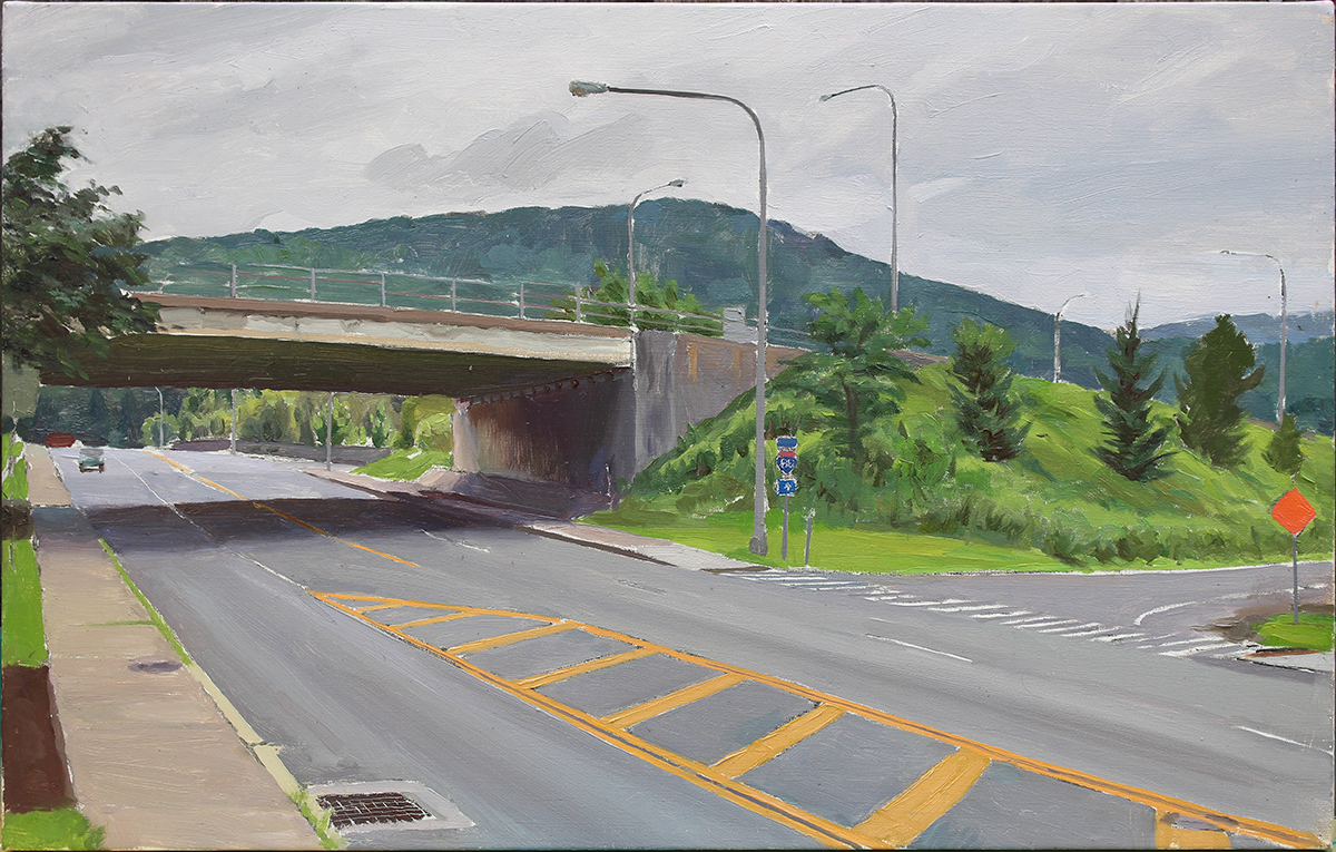"""UNDERPASS oil on canvas 14 x 24"""" 2018"""