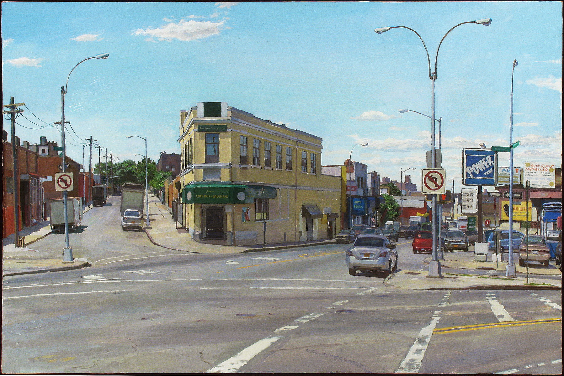 "FLUSHING AND METROPOLITAN oil on panel 24 x 36"" 2014 (sold)"