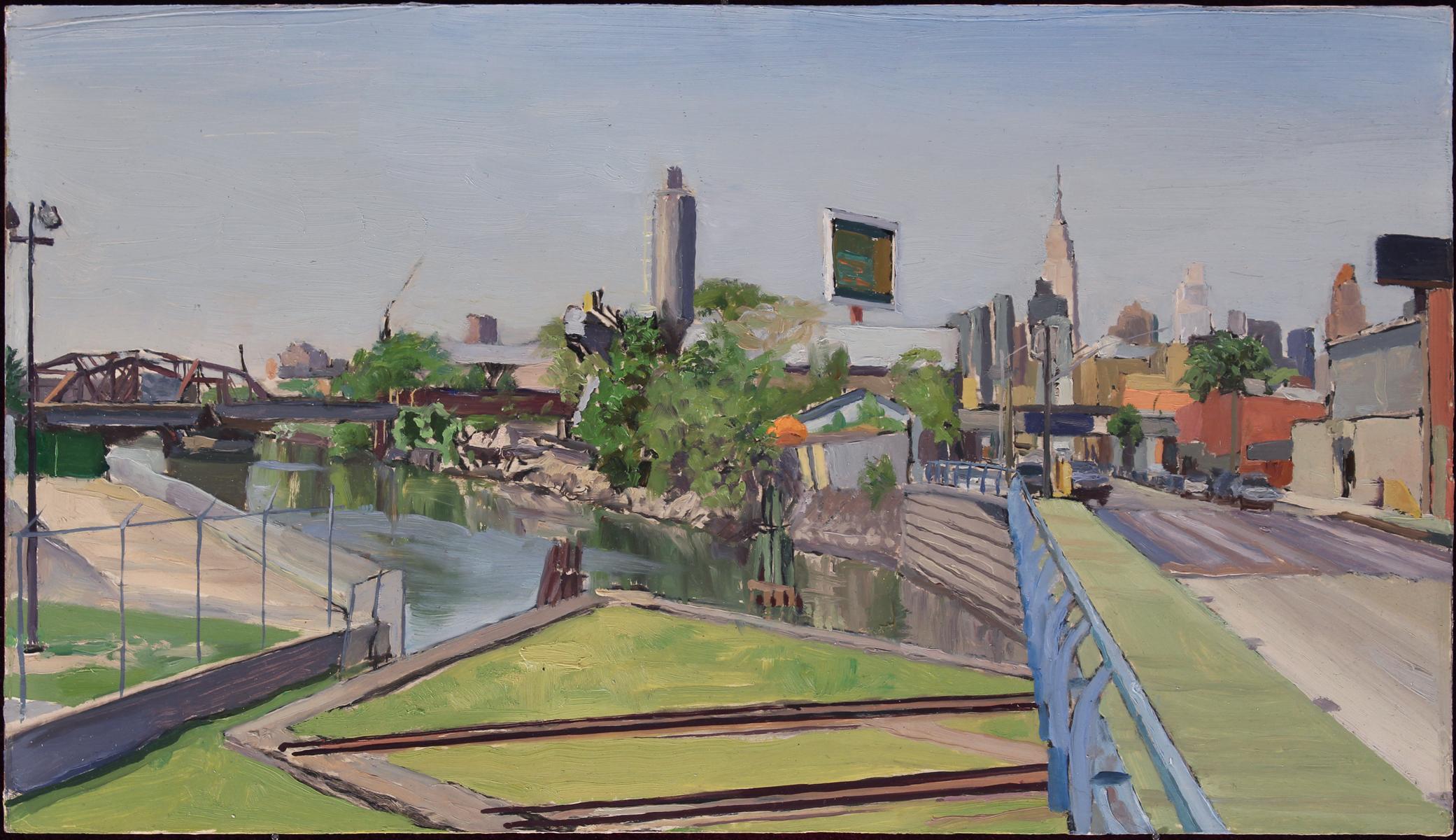 "BORDEN AVENUE (study) oil on panel 9 x 16"" 2017"