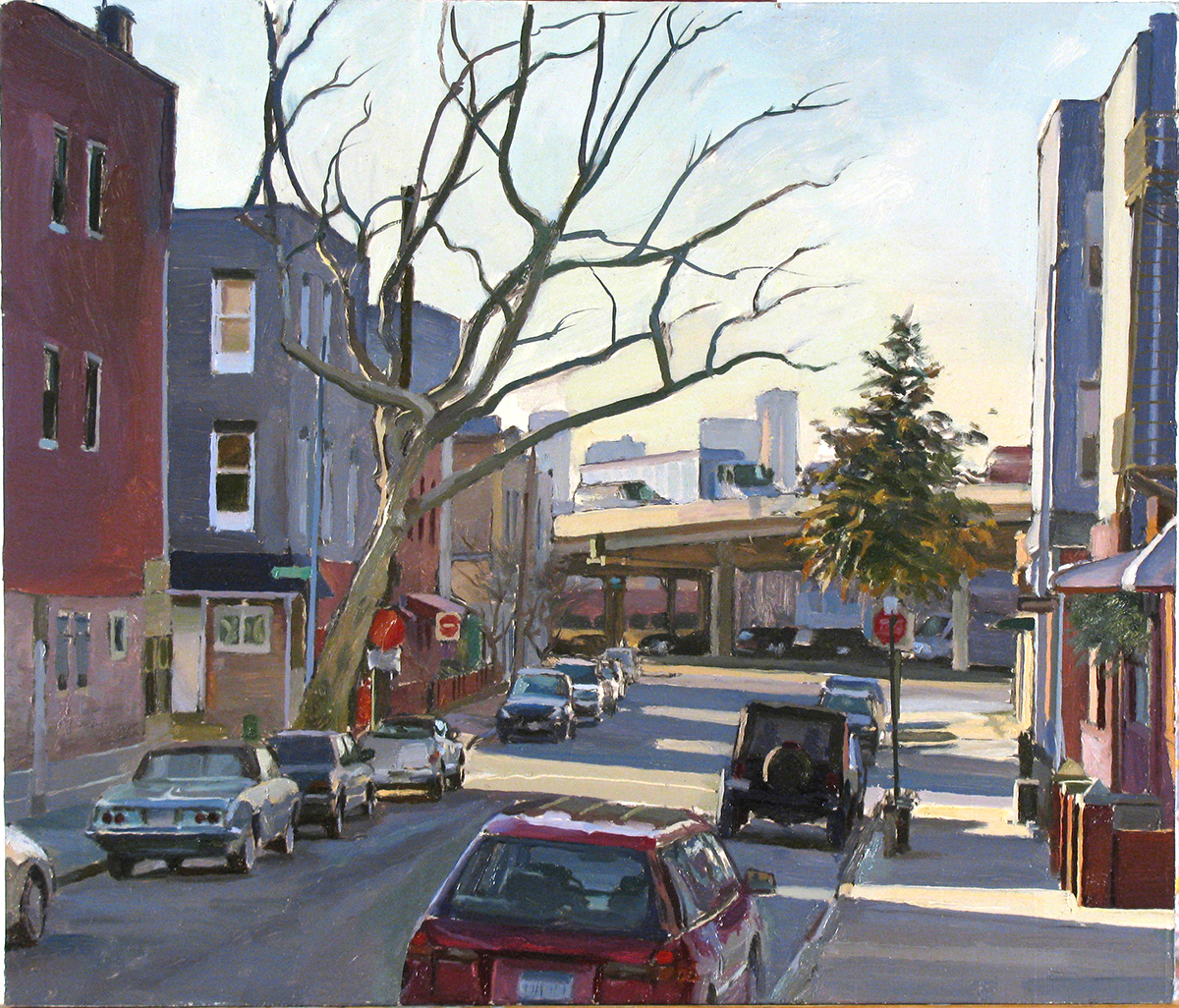 "K-41: FROST ST. near BQE, BROOKLYN oil on panel 14 x 16"" 2009"
