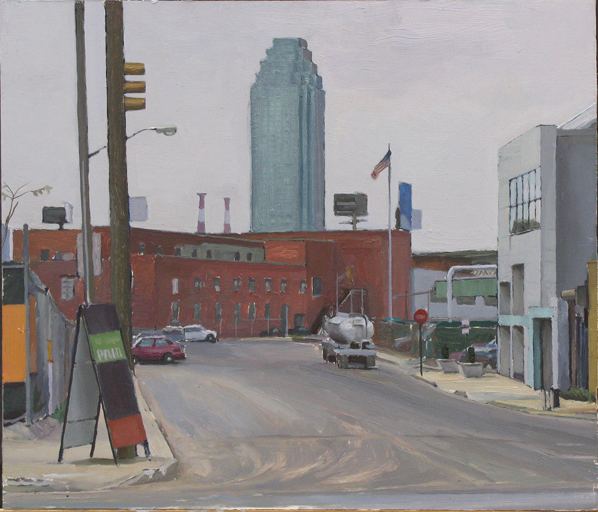 "M-29: GREENPOINT AVE. and KINGSLAND AVE., BROOKLYN oil on panel 14 x 16"" 2009"