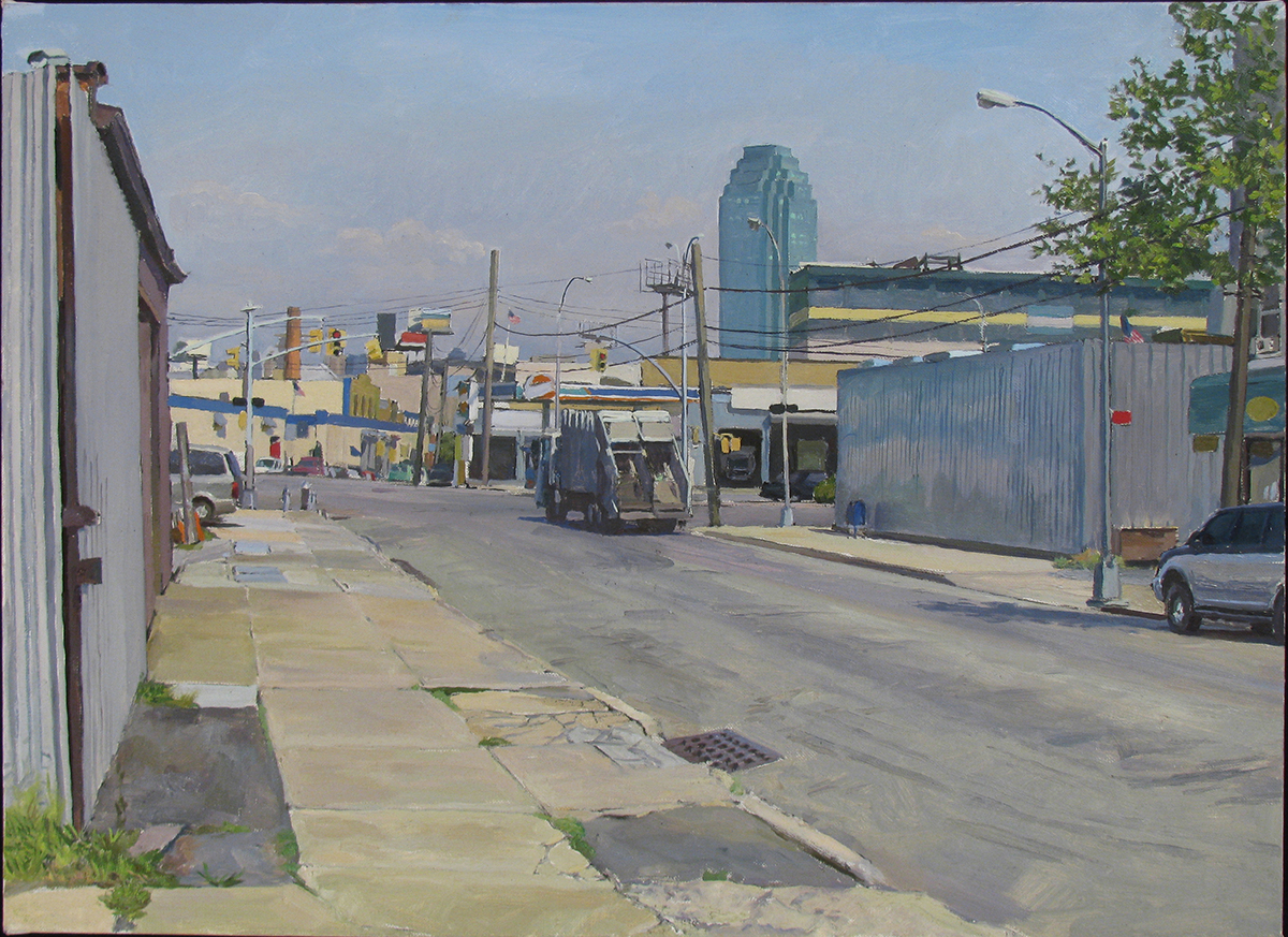 "Q-28: REVIEW AVE. east of GREENPOINT AVE., QUEENS oil on linen 16 x 22"" 2012"