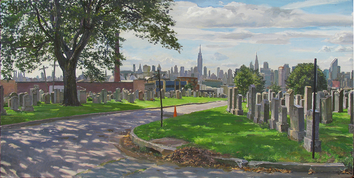 "S-29: CAVALRY CEMETARY, QUEENS oil on linen 16 x 32"" 2012"