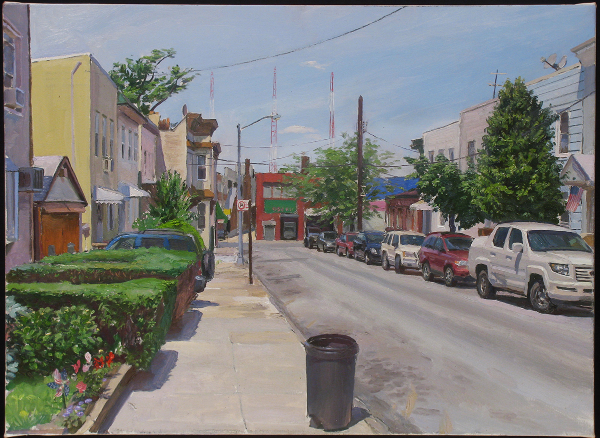 "FF-45: 53RDST. below FLUSHING AVE., QUEENS oil on linen 16 x 24"" 2013"