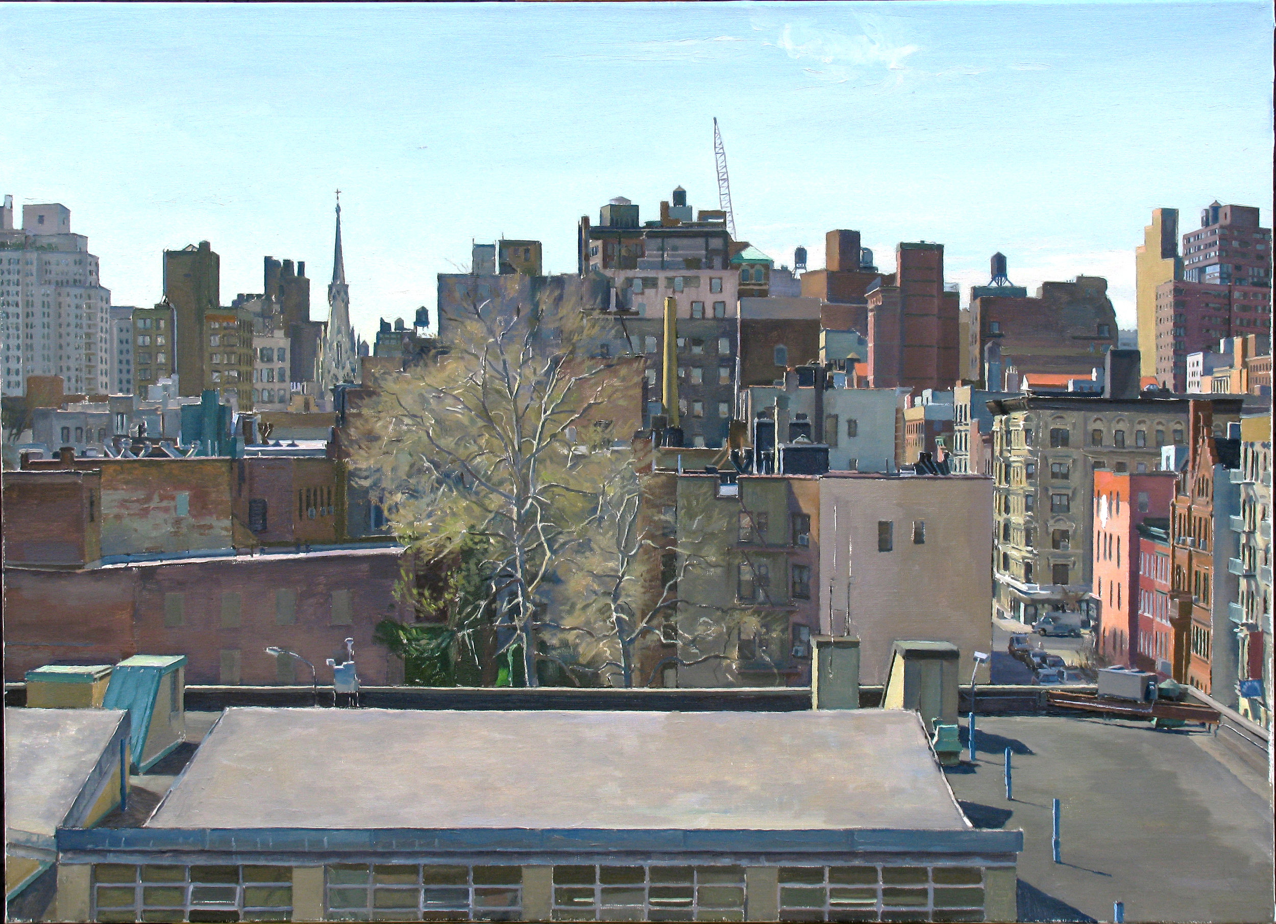 "CITY TREE oil on linen 24 x 33"" 2009"
