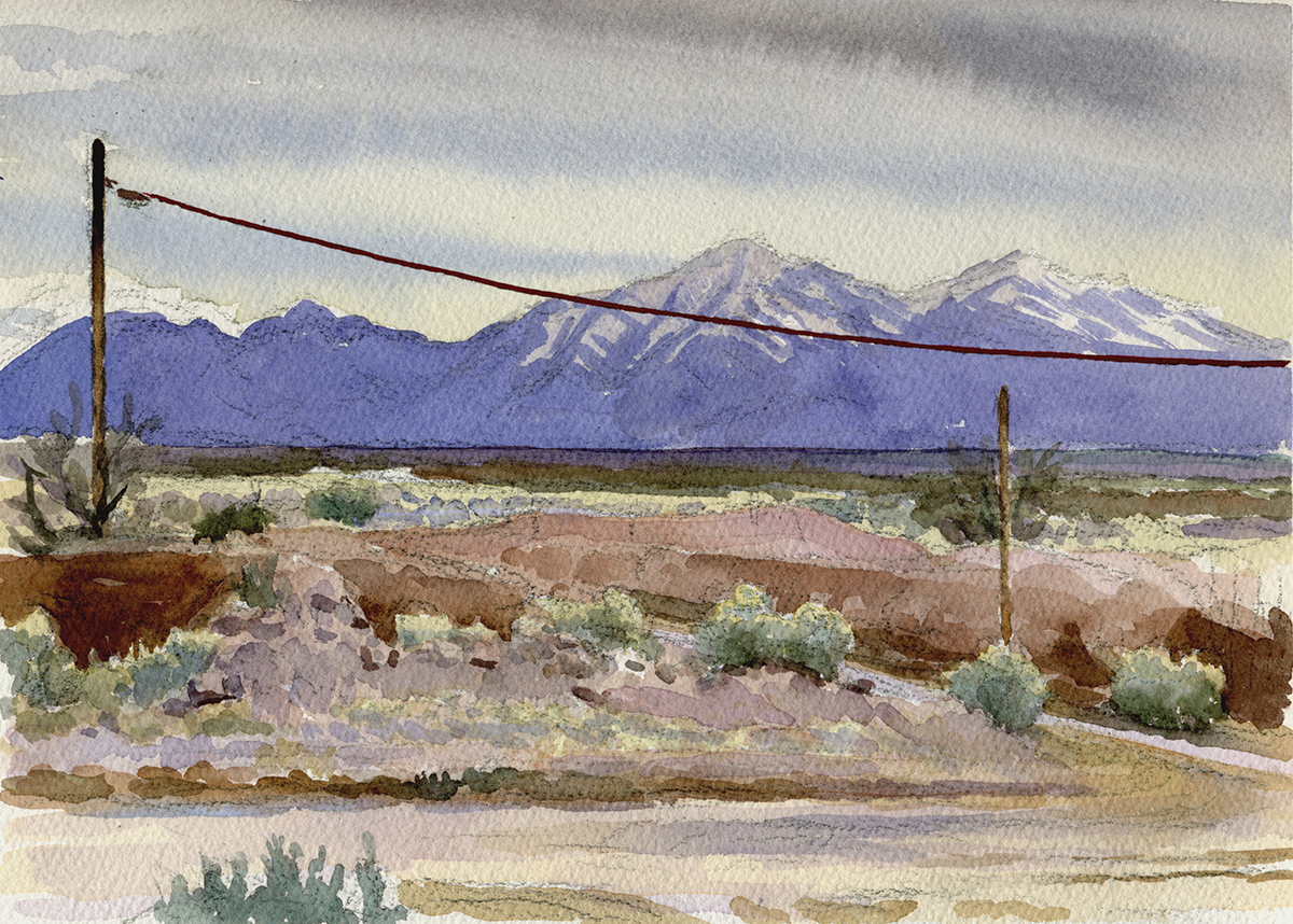 "COLD DESERT watercolor 9 x 12"" 2006"