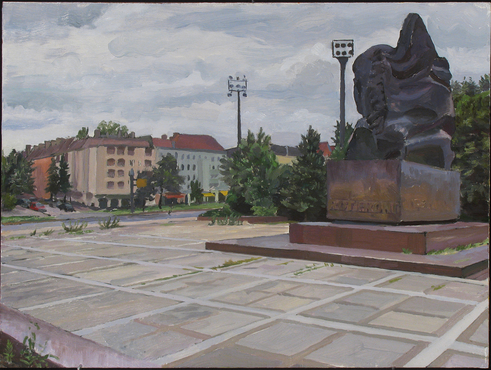"BERLIN: ERNST THALMANN PARK oil on panel 12 x16"" 2013"