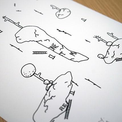 Sur www.galerielillu.com tu trouveras .... .... des gens qui cherchent leur chemin 👀  Problems & Solutions ~ Jiem&Mary ~ Format mini 40 €  Dispo en exclu et en édition limitée sur www.galerielillu.com 🙃  #artprint #illustration #printshop #digigraphie #mary&jiem