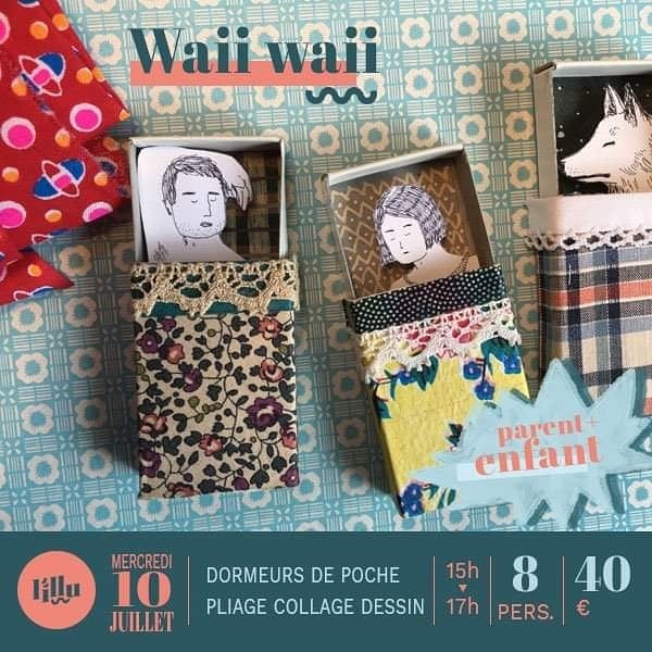 Les ateliers de @waii_waii sont làààà !  Viens découvrir le curieux univers de cette artiste à travers le dessin, le découpage, le pliage et l'aquarelle.  Au programme, livre-paysage ou dormeur de poche, de quoi voyager rien qu'avec du papier 🖌✂️✏️ Inscris-toi, ça va être chouette ! {Message en MP}  Waii waii ~ Dormeurs de poche ~ Atelier Parent/Enfant Waii waii ~ Un livre comme un paysage ~Atelier parent/enfant