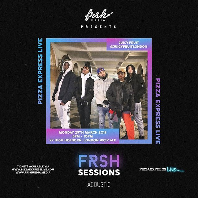 💥Catch @juicyfruitlondon performing Live at Frsh Sessions Acoustic March 25th!  Tickets available Now via @pizzaexpresslive @industrymeofficial & www.frshmedia.media