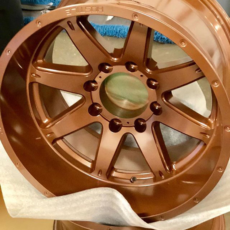 Rims powder coated in the colour, Prismatic Copper Frosted.