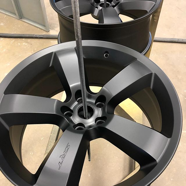 A good customer brought in new SRT wheels for us to powder coat flat black. They turned out great! #yeg #powdercoat #powdercoating #custompowdersolutions #wheels #edmonton #alberta #custom #fastservice #ceramic #auto