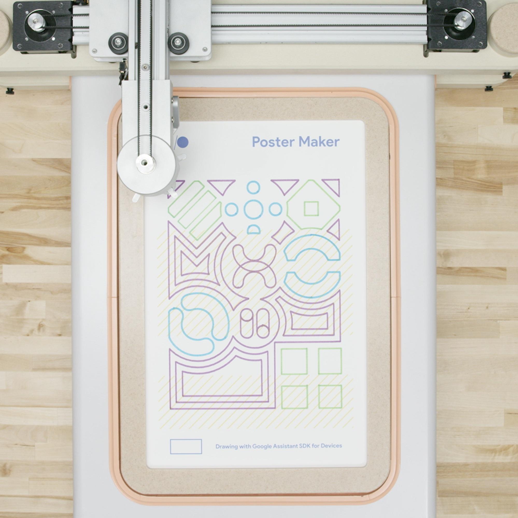 GOOGLE POSTER MAKER - A poster-making robot creates custom art based on voice commands.