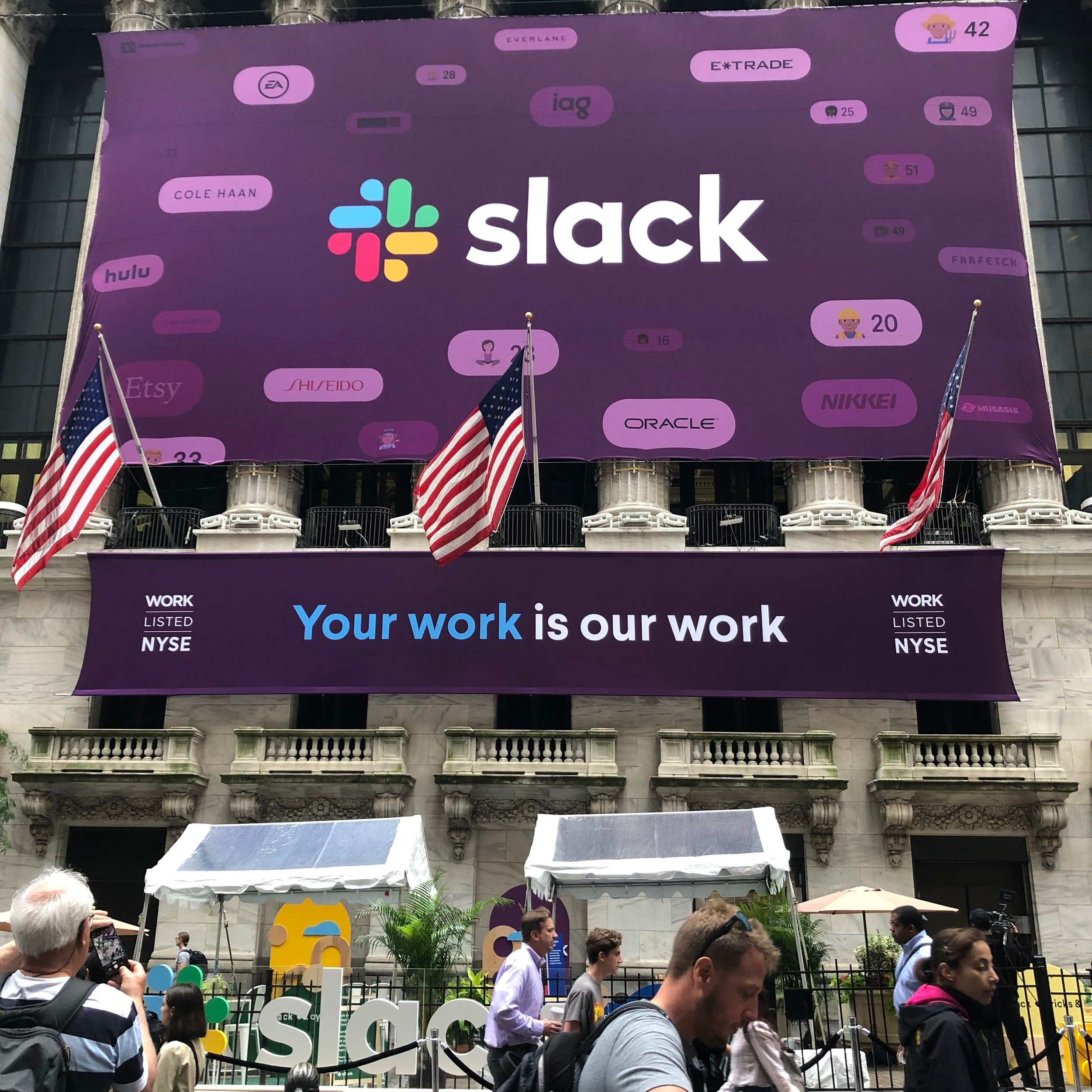 Slack At The NYSE - A custom interactive experience at the NYSE for Slack's direct listing celebrated the amazing work of people who use Slack every day.