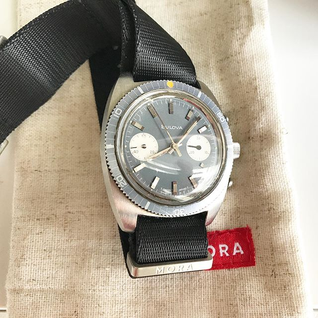 New to the fam! 1970 @bulova deep sea chronograph. Was worn for a few years and then put in a drawer for 43.  Excited to get it serviced and on wrist.  Pairs well with the @morawatchstraps black nato. #exploringtime #exploringstraps #bulova666 #bulovadeepseachronograph #watchfam #morawatchstraps