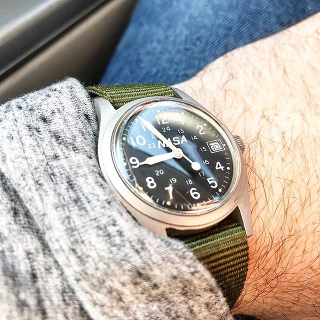 Such a fun watch to wear.  The 33mm @hamiltonwatch khaki. Wish I jeep more about this NASA dial version.  The @swatch group archivist had no record of these being made.  Any insight appreciated!  #hamilton #NASA #exploringtime #exploringstraps #khakifield #watchfam