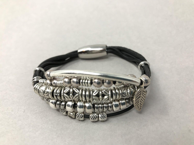 Multi-strand Black and Silver Bracelet