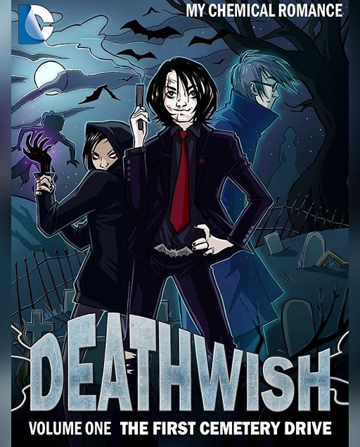 """""""What if MCR were in a comic?"""" The first cover for Deathwish Joy made, before there was any story behind it."""