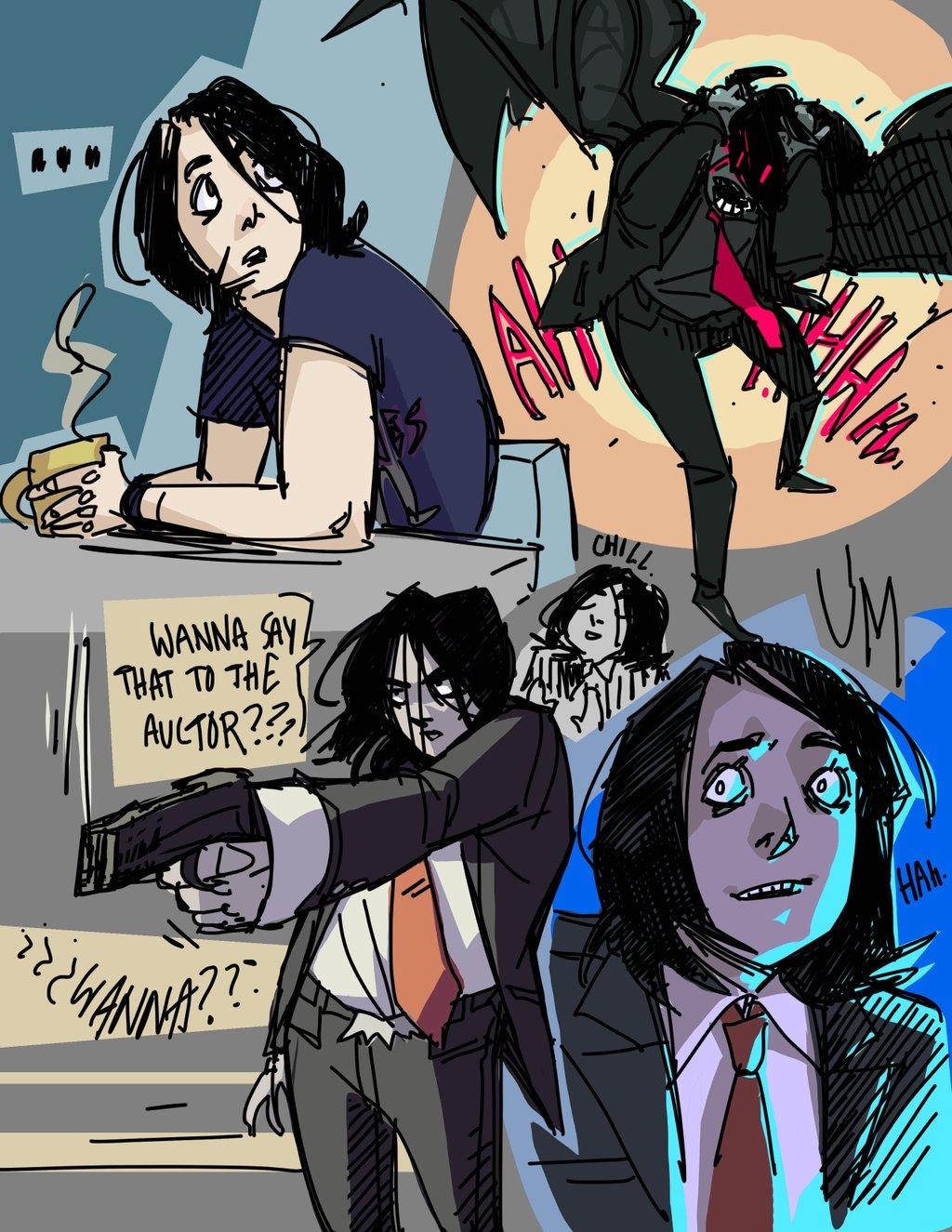 Joy read the Umbrella Academy and tried to draw Gerard like Gabriel BÁ .