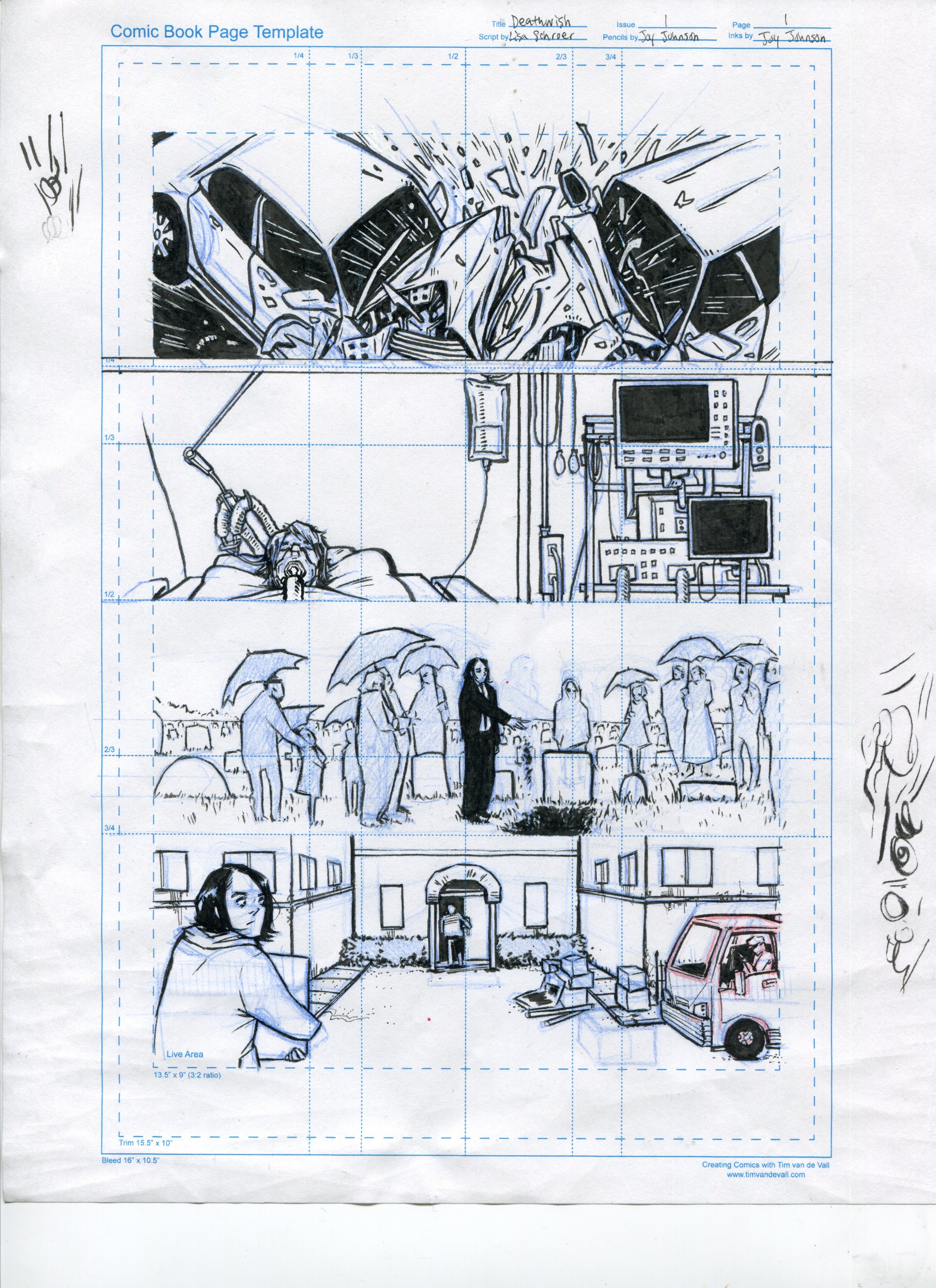 Joy's third-ish try drawing the original first page of Deathwish.