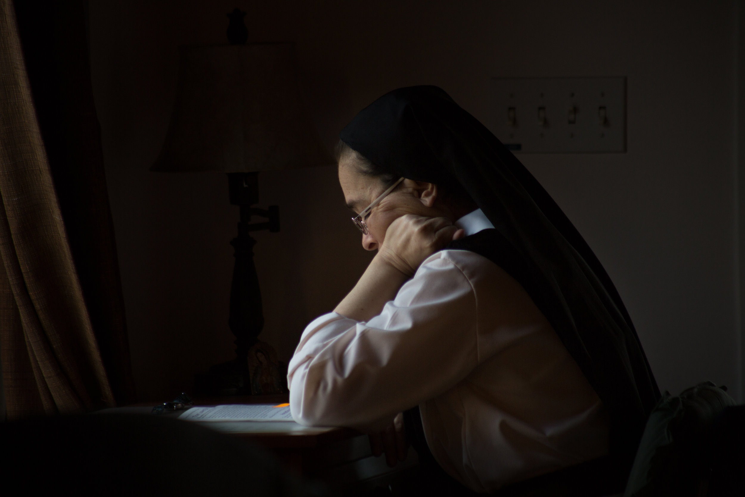 Sister Jacqueline mediates during evening vespers March 30, 2019 in Crozet, Virginia.