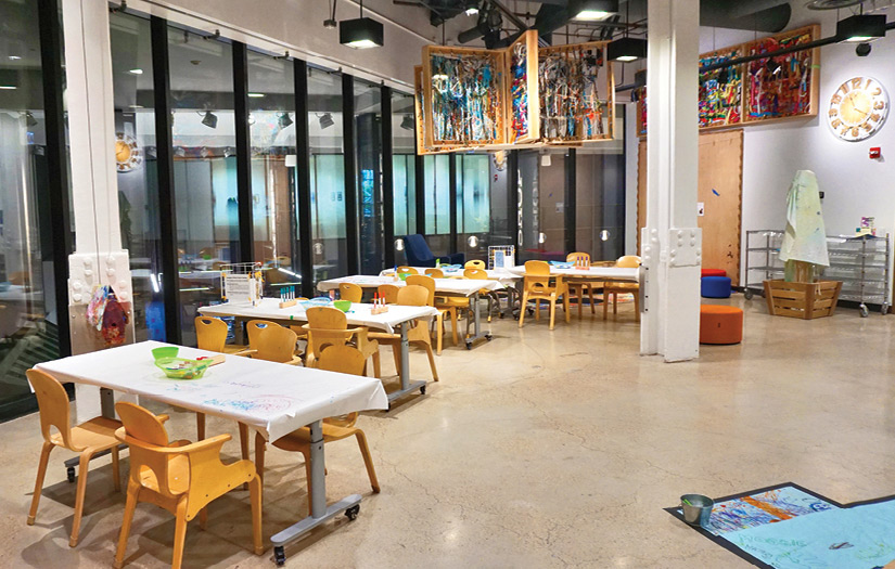 A view of the Chicago Children's Museum Art Studio ready for a workshop