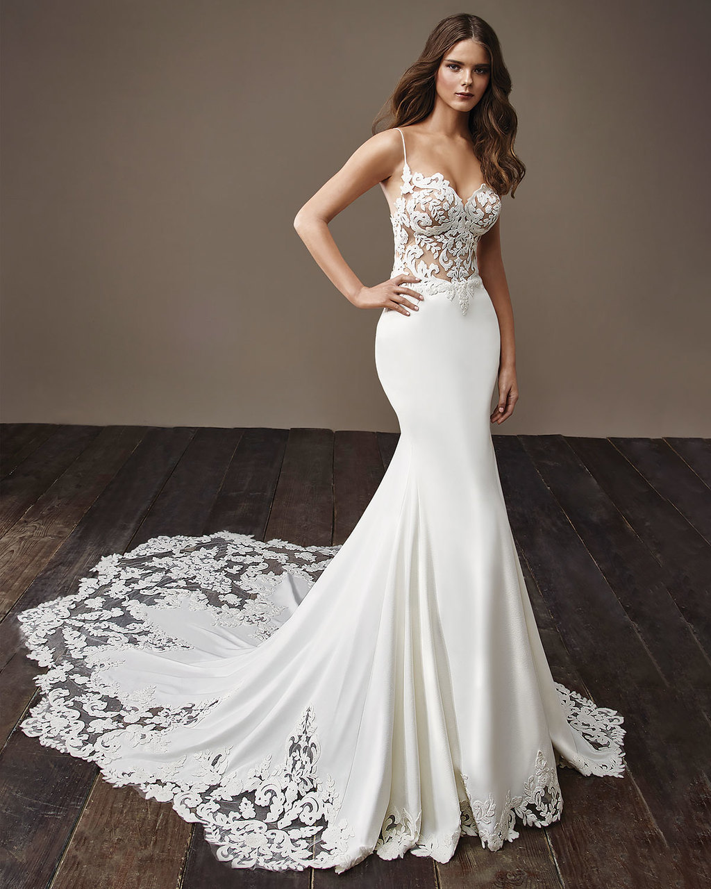 Blake:  A stunning georgette fit and flare gown with a lace illusion bodice and a jaw-dropping lace illusion train.