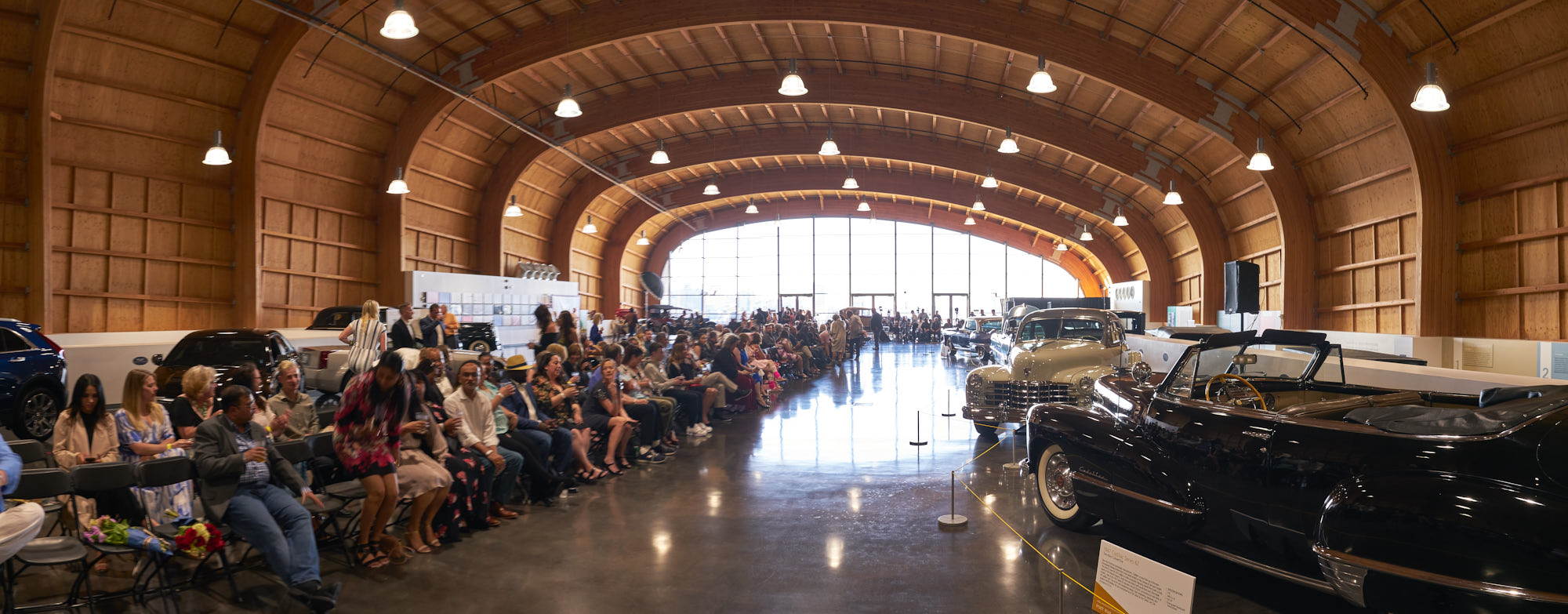 Panoramic composite of LeMay museum interior as patrons took their seats.