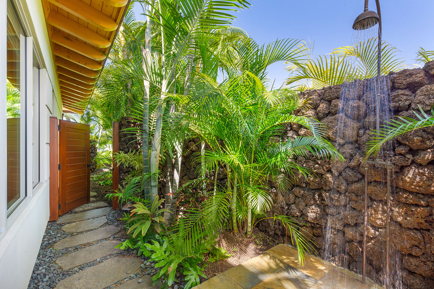 Beautiful  outdoor shower at Maluhia Hale at Hualāla