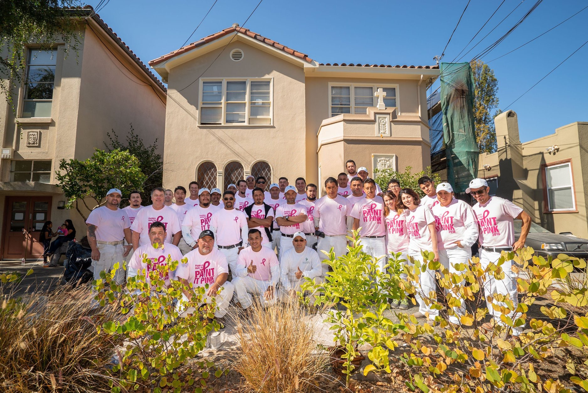 "The MB Jesse Professional Painters Team donated their amazing services to repaint the exterior of Oakland Elizabeth House this past October 2018 during their ""Paint it Pink"" Community Outreach for Breast Cancer Awareness month!"