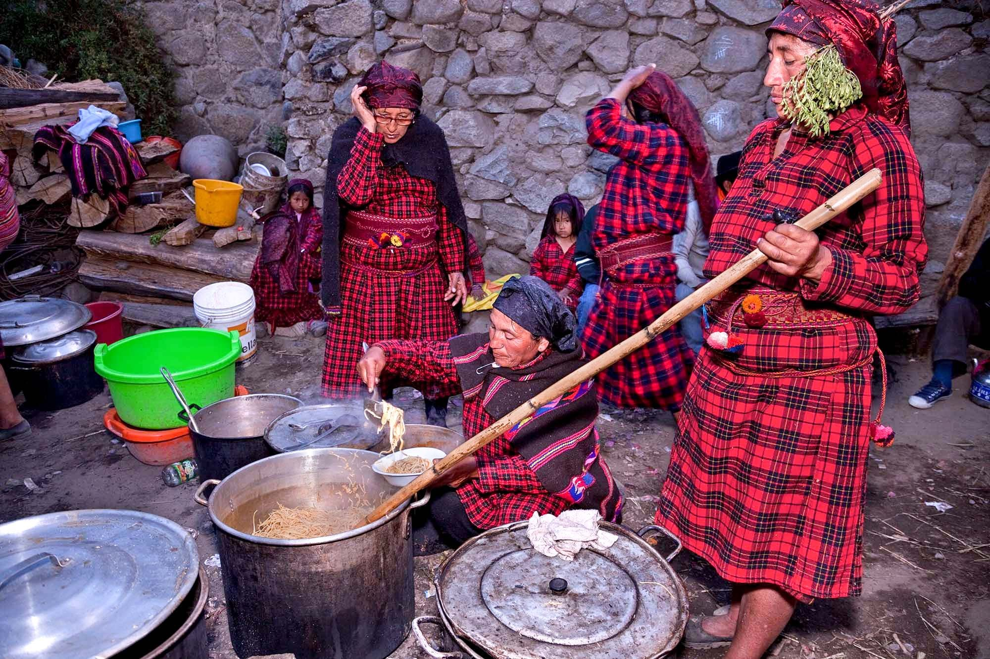 Every year, there are only two families chosen to brand their cattle.  This festivity is called the  wak jayra ,  the party of the cow.  Each family gathers and makes a large meal for  their guest.  Family and friends come from other cities to visit on this  special event.