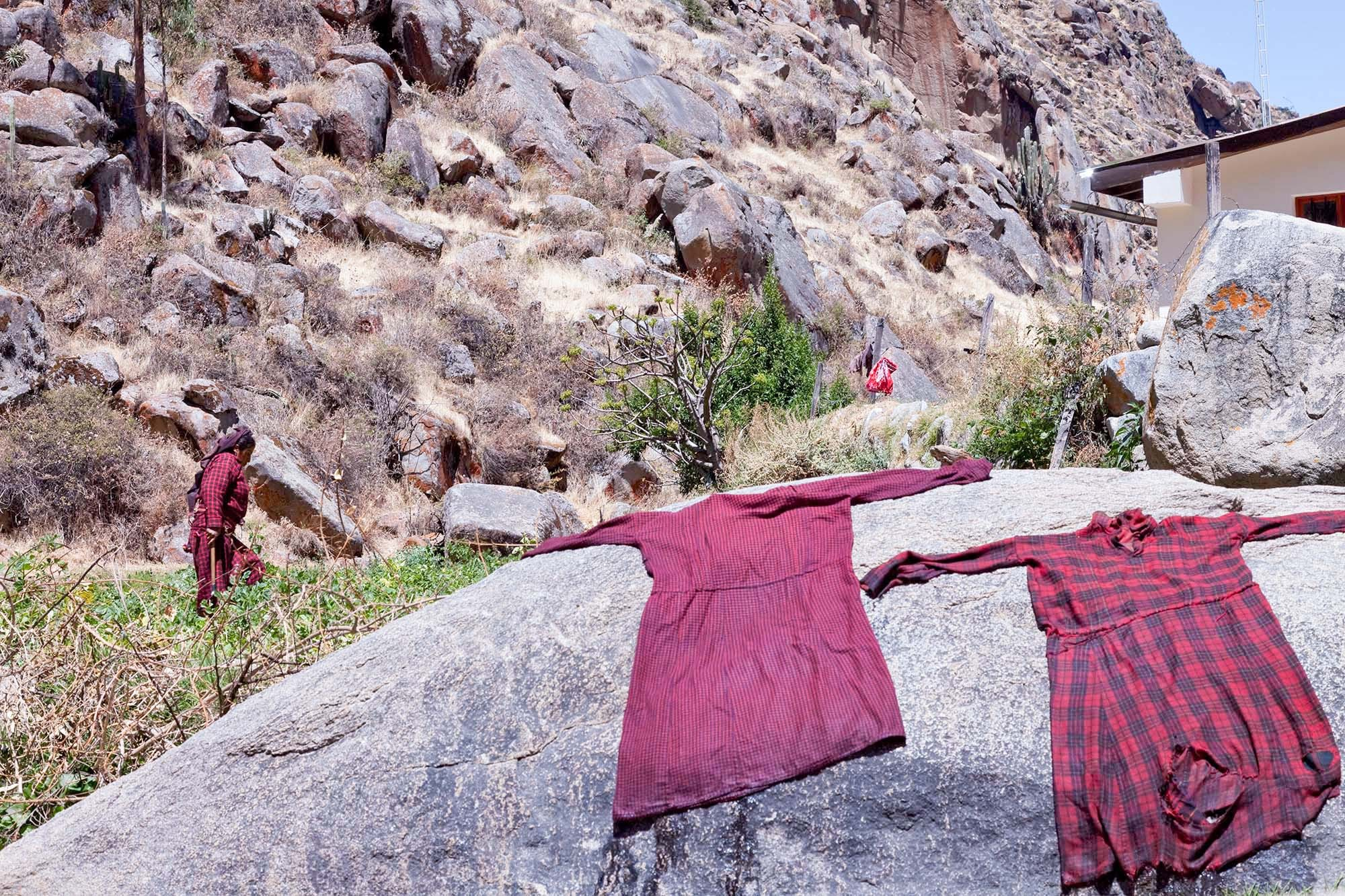 Clothes drying during the potato harvest.